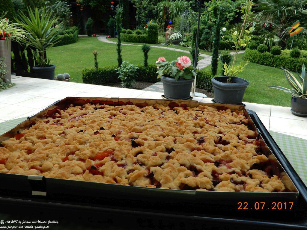 Ursula's Streusel-Obst-Kuchen frisch auf dem Blech