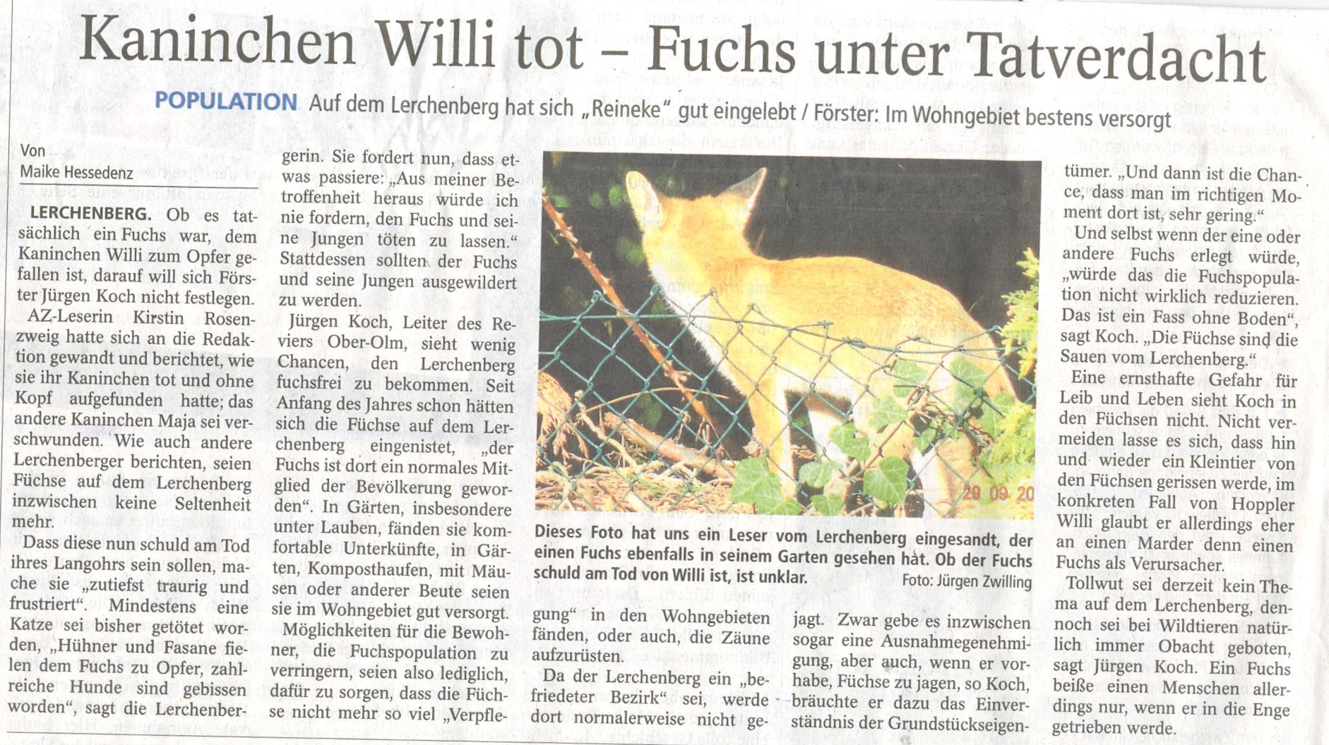 Allgemeine Zeitung Mainzer 12.10.2012