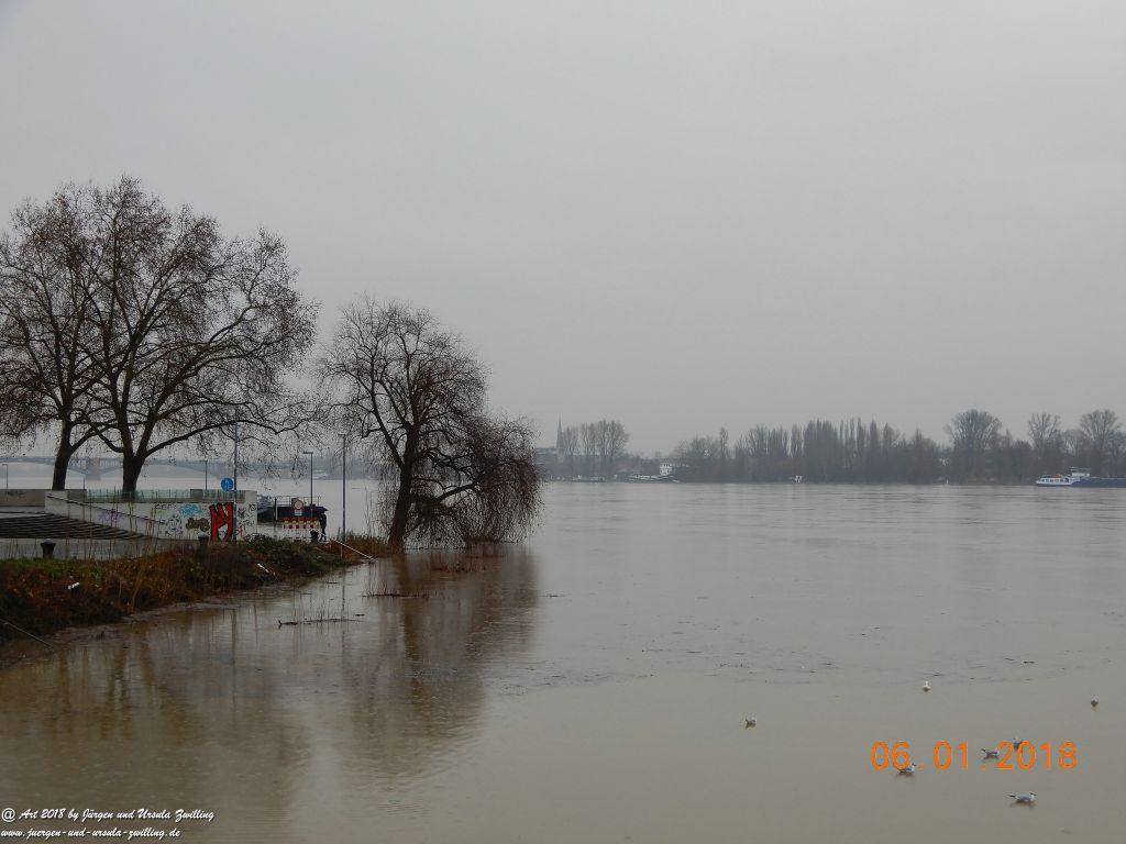 Hochwasser Mainz - Heidenfahrt -Heidesheim - Rhein - Rheinhessen