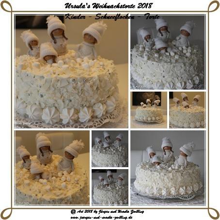 Ursula's Weihnachstorte 2018 - Kinder - Schneeflocken - Torte