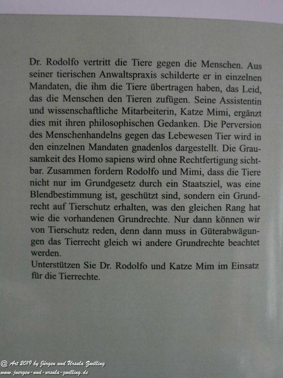Blick und Einladungin unsere Galerie - mit Blick ins Buch Dr. Rodolfo Anwalt der Tiere verklagt den Menschen