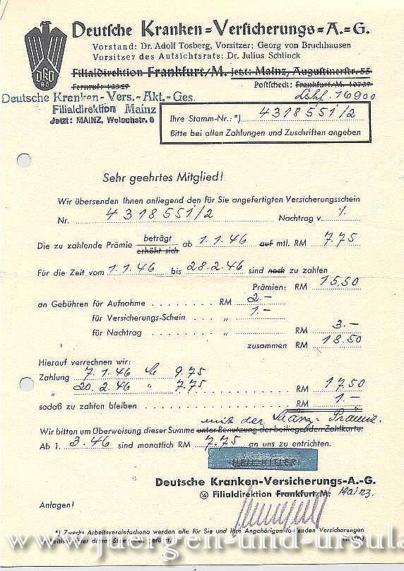 Deutsche Kranken Versicherungs AG 01.01.1954