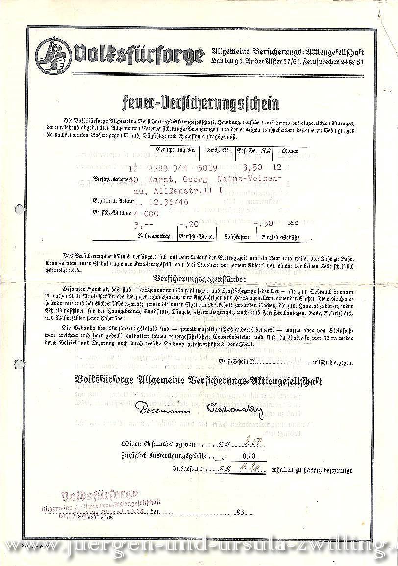 Volksfürsorge - Feuer Versicherungsschein 01.12.1936