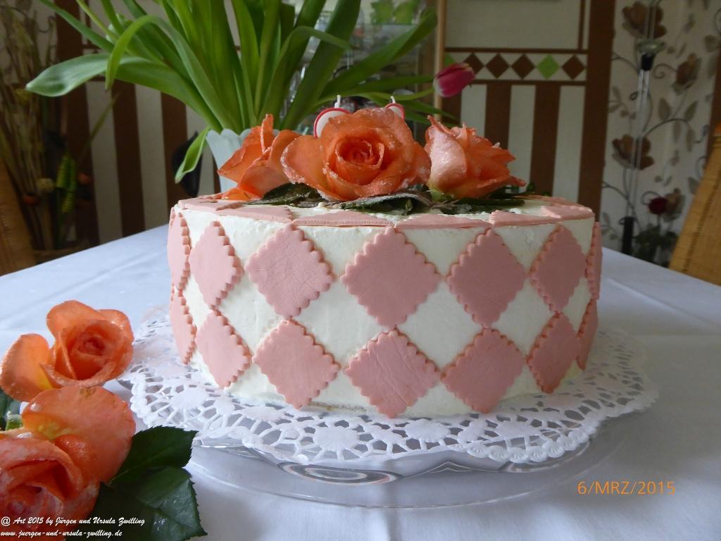 Mandarinen Käse Sahne Torte - Oma\'s Geburtstagtorte mit handgefertigter Deko
