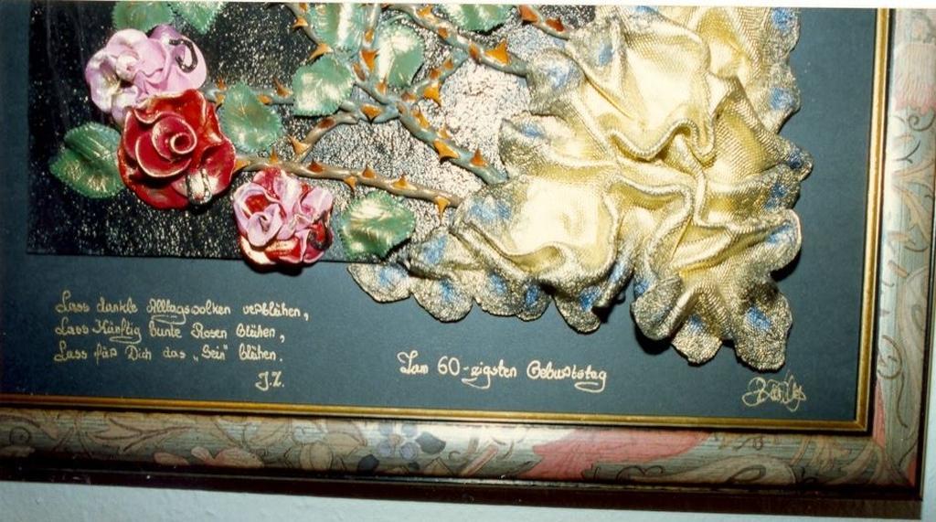 24.08.1993 Ursula\'s Fimo-Bild zum 60zigsten Geburtstag vom Schwiegervater Georg Zwilling