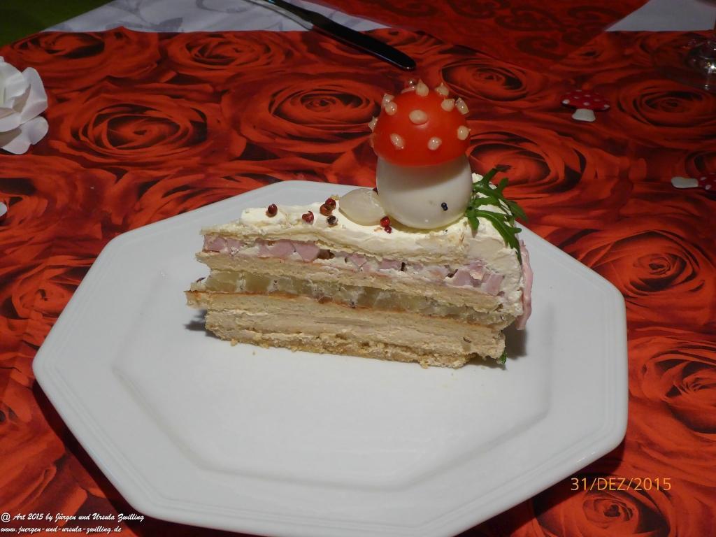 Ursula's Mainzer – Sylvester– Handkäs – Spundekäs – Fleischwurst – Neujahres -Torte (Eigenkreation - @Idee und Herstellung Ursula Zwilling)