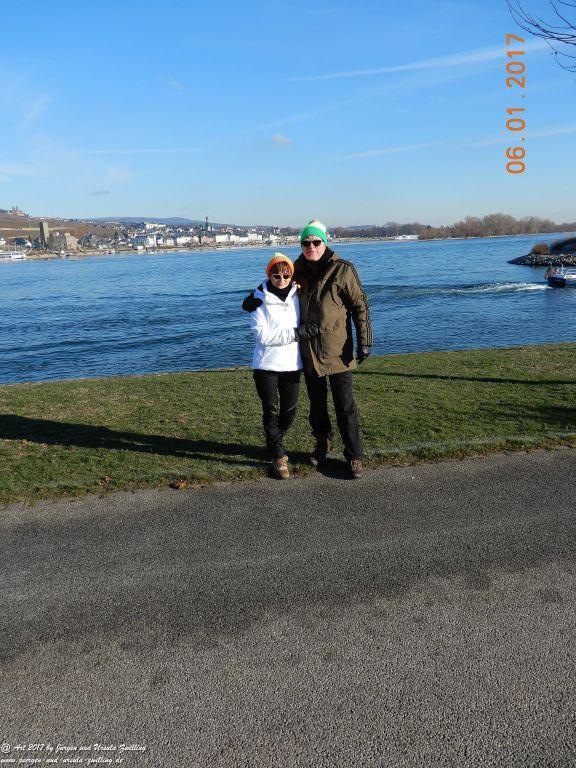 Philosophische Bildwanderung Niedrigwasser am Rhein - Bingen - Mäuseturn