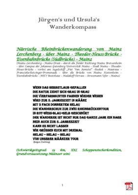 Wandertourbeschreibung   Närrische Rheinbrückenwanderung in Määnz