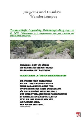 Tourbeschreibung  Traumschleife-Layensteig-Strimmiger-Berg