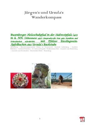 Tourbeschreibung mit Kuchenrezpet -   Busenberger Holzschuhpfad in der Südwestpfalz mit Pflälzer Rieslingwein-Apfelkuchen