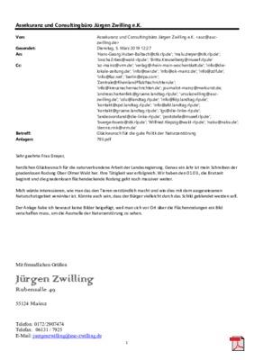 Offener Brief an Ministerpräsidentin Frau Dreyer - Glückwunsch für die gute Politk der Naturzerstörung im Ober Olmer Wald