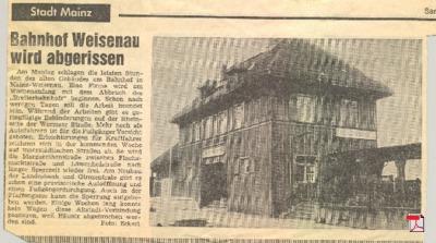 Alter Bahnhof in Mainz Weisenau - Allgemeine Zeitung Mainz 08.12.1973