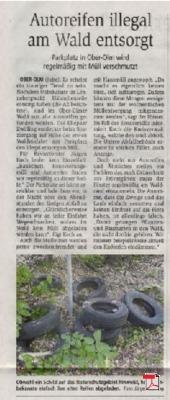 Autoreifen illegal am Wald entsorgt - Allgemeine Zeitung Mainz 05.07.2019