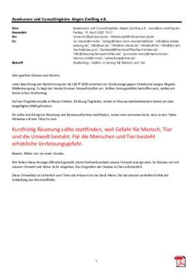 Strafanzeige wegen des Verdachtes einer Umweltstraftat mit offenen Brief an die Ministerpräsidentin von Rheinland Pfalz und den Oberbürgermeister von Mainz