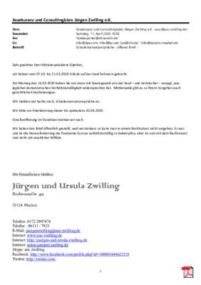 Schadensersatzansprüche gegen Schlewig Holstein wegen entgangenem Urlaub, wegen Verpflichtung, durch den Staat, die Insel Fehmarn verlassen zu müssen