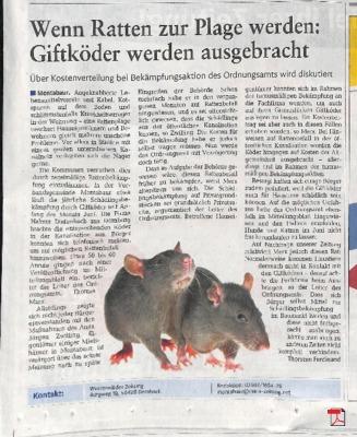 Westerwälder Zeitung - Wenn Ratten zur Plage werden Giftköder werden ausgebracht