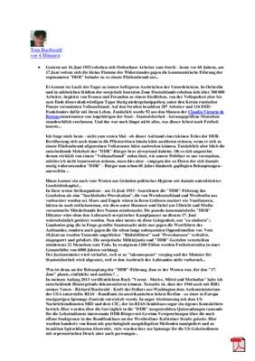 17.06. Korrespondenz mit Tom Buchwald