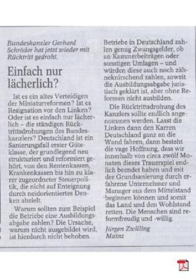 Bundesklanzler Schröder droht innerpolitischen Gegnern mit Rücktritt - Leserbrief - Allgemeine Zeitung Mainz