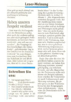 Wahldebakel im Kieler Landtag - Mainzer Allgemeine Zeitung