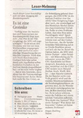 Pisa hat die Sozialdemokratische Führung getroffen! - Leserbrief - Allgemeine Zeitung Mainz