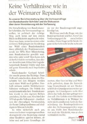 Schröder verliert die Vertrauensfrage - Leserbrief - Handelsblatt