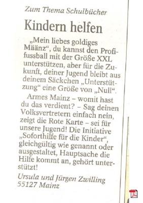 Kindern helfen - Leserbrief - Allgemeine Zeitung Mainz