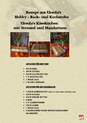 Ursula's Käsekuchen  mit Streusel und Mandarinen