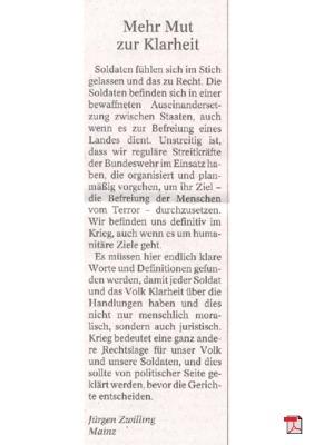 Mehr Mut zur Klarheit - Leserbrief - Allgemeine Zeitung Mainz