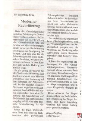Moderner Raubritterzug - Leserbrief - Allgemeine Zeitung Mainz