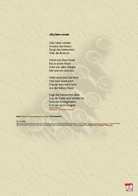 Alle Jahre wieder - Gedicht