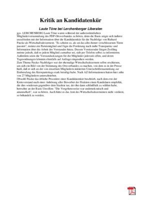 Kritik an Kandidatenkür - Allgemeine Zeitung Mainz