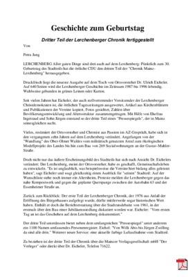 Dritter Teil der Lerchenberger Chronik fertiggestellt - Allgemeine Zeitung Mainz