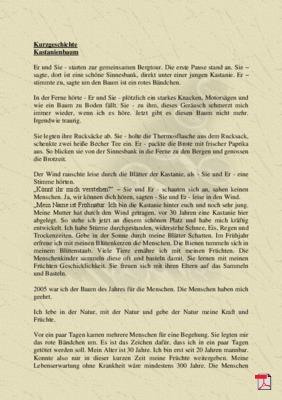 Kastanienbaum -Kurzgeschichte