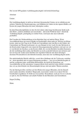 Absoluter Unsinn - Ausbildungsplatzabgabe - Leserbrief - Allgemeine Zeitung Mainz