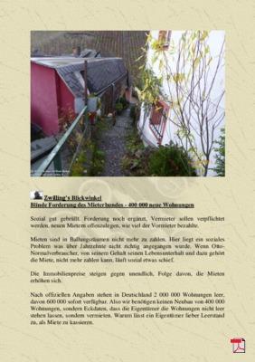 Zwilling's Blickwinkel  Blinde Forderung des Mieterbundes - 400 000 neue Wohnungen