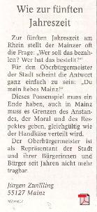 Wie zur fünften Jahreszeit - Leserbrief -  Allgemeine Zeitung Mainz