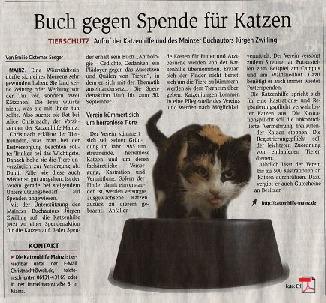 Buch gegen Spende für Katzen - Allgemeine Zeitung Mainz 21.07.2017