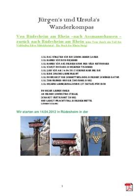 Wandertourbeschreibung von Rüdesheim am Rhein - Assmannshausen - Rüdesheim Am Rhein