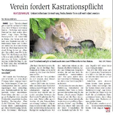 Katzenhilfe Mainz e.V. fordert Kastrationspflicht - Allgemeine Zeitung 06.09.2017
