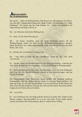 Der Weihnachtsbaum - Kurzgeschichte