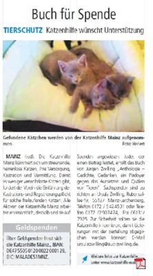 Tierschutz Katzenhilfe wünscht Unterstützung - Buch für Spende - VRM Mainz Blickpunkt WLP 08.01.2018