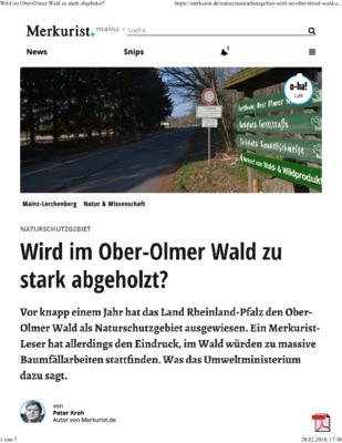 Naturschutzgebiet - Wird im Ober-Olmer Wald zu stark abgeholzt? -Merkurist 28.02.2018