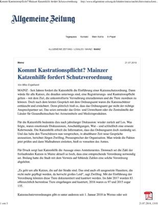 Kommt für Katzen Kastrationspflicht in Mainz - Allgemeine Zeitung Mainz 21.07.2018