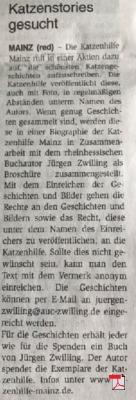 Katzenstories gesucht - Mainzer Wochenblatt 08.08.2018
