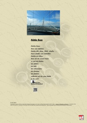 Brücken bauen (Mensch, Familie, Gesellschaft, Natur)  - Gedichte - Gedanken