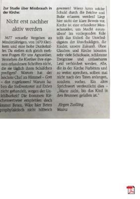 Nicht erst nachher aktiv werden - zur Studie über Missbrauch in der Kirche - Allgemeine Zeitung Mainz 15.09.2018