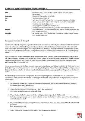 Offener Brief an Prof. Dr. Kohlgraf - Bischof von Mainz - Nicht erst nachher aktiv werde - offene Fragen mit der Bitte um Beantwortung