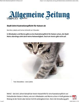 Stadt lehnt Kastrationspflicht für Katzen ab - Allgemeine Zeitung Mainz 24.09.2018
