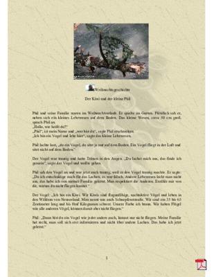 Weihnachtsgeschichte 2018 - Kurzgeschichte  Der Kiwi und der kleine Phil