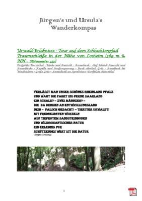 Wandertourbeschreibung  - Urwald-Erlebnisse - Tour auf dem Schluchtenpfad